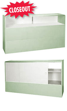 70 inch Seafoam Green Jewelry Display Case Fully Assembled