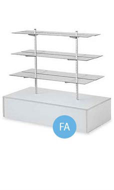 Gray Glass Shelf Gondola