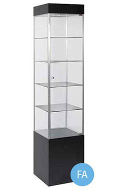 Black Square Tower Display Case With Light - Metal Framed