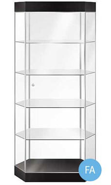 Stretch Hexagonal Metal Framed Tower Display Case with Light