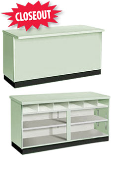 70 inch Seafoam Green Metal Framed Service Counter