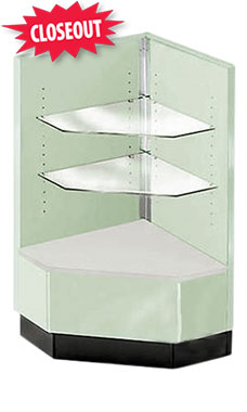 Seafoam Green 90 Degree Corner Display Case- Metal Framed