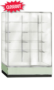 70 inch Seafoam Green Metal Framed Glass Wall Unit Fully Assembled