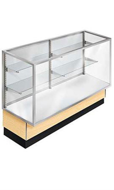 48 inch Full Vision Maple Metal Framed Display Case Ready To Assemble