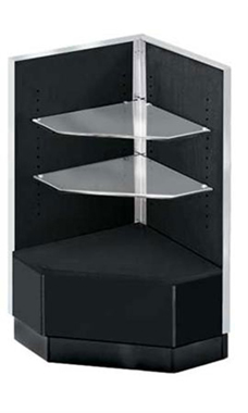 Black 90 Degree Corner Display Case - Metal Framed