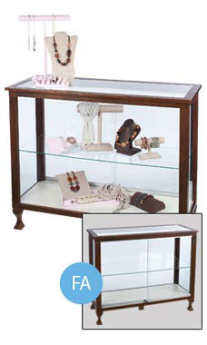 "Espresso Boutique 48""W Glass Display with Legs- Fully Assembled"