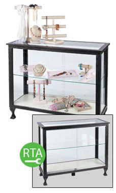 Charcoal 48 inch Glass Display with Legs- Ready to Assemble