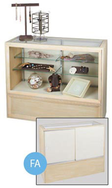 48 inch Antique White Full Vision Display Case Fully Assembled