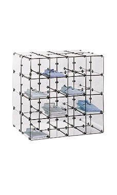 "4 x 4 Double Sided 12"" x 12"" Glass Cube Kit with Metal Clips"