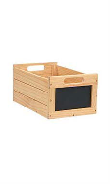 Small Natural Wood Chalkboard Crate