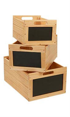 Nesting Natural Wooden Chalkboard Crates