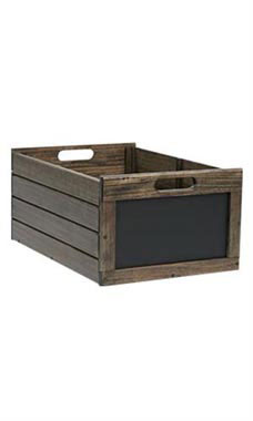 Large Dark Oak Wood Chalkboard Crate