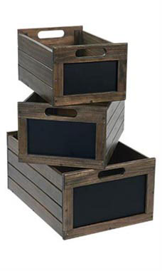 Nesting Dark Oak Wood Chalkboard Crates