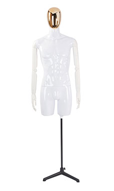 Male Glossy White ¾ Body Mannequin with Gold Egg Head and White Posable Arms