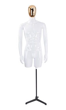 Male Glossy White ¾ Body Mannequin with Gold Egg Head and Non Posable Arms