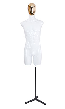 Male Glossy White ¾ Body Mannequin with Gold Egg Head and 2 Shoulder Caps