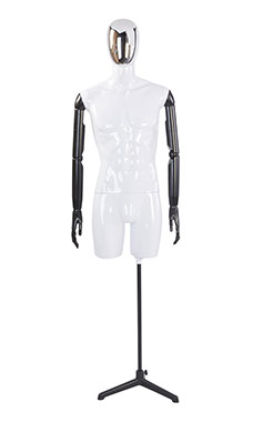 Male Glossy White ¾ Body Mannequin with Silver Egg Head and Black Posable Arms