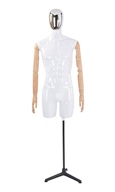 Male Glossy White ¾ Body Mannequin with Silver Egg Head and Wood Posable Arms