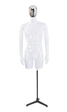Male Glossy White ¾ Body Mannequin with Silver Egg Head and Non Posable Arms