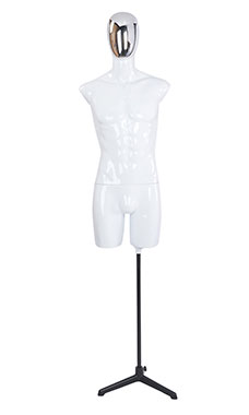 Male Glossy White ¾ Body Mannequin with Silver Egg Head and 2 Shoulder Caps