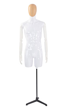 Male Glossy White ¾ Body Mannequin with Wood Egg Head and White Posable Arms