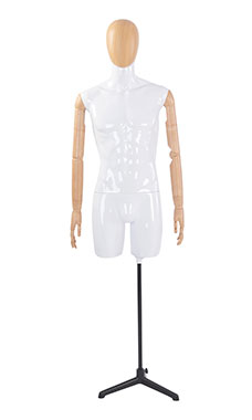 Male Glossy White ¾ Body Mannequin with Wood Egg Head and Posable Wood Arms