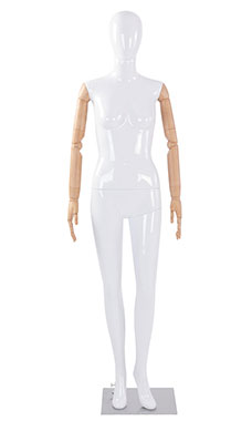 Female Glossy White Plastic Mannequin with White Egg Head and Wood Posable Arms