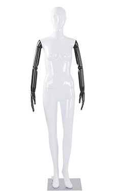 Female Glossy White Plastic Mannequin with White Face Egg Head and Black Posable Arms