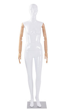 Female Glossy White Plastic Mannequin with White Face Egg Head and Wood Posable Arms