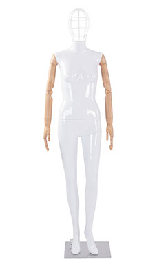Female Glossy White Plastic Mannequin with Wire Head and Wood Posable Arms