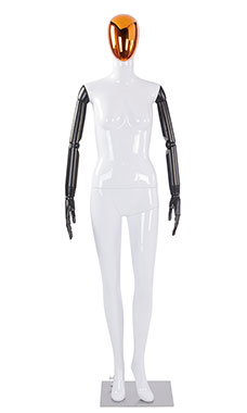 Female Glossy White Plastic Mannequin with Red/Chrome Egg Head and Black Posable Arms
