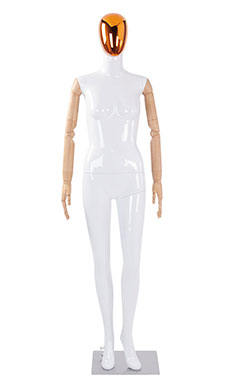 Female Glossy White Plastic Mannequin with Red/Chrome Egg Head and Wood Posable Arms