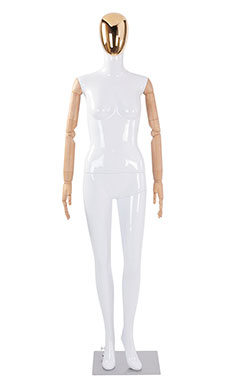Female Glossy White Plastic Mannequin with Gold Egg Head and Wood Posable Arms