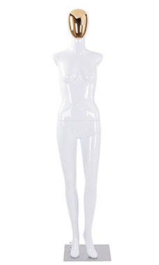 Female Glossy White Plastic Mannequin with Gold Egg Head and 2 Shoulder Caps