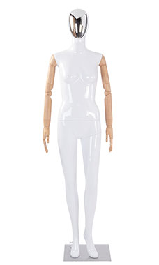Female Glossy White Plastic Mannequin with Silver Egg Head and Wood Posable Arms
