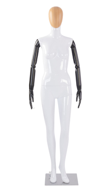 Female Glossy White Plastic Mannequin with Wood Egg Head and Black Posable Arms