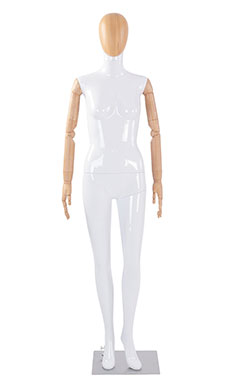 Female Glossy White Plastic Mannequin with Wood Egg Head and Wood Posable Arms