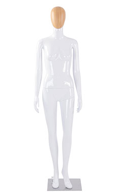 Female Glossy White Plastic Mannequin with Wood Egg Head and Non Posable Arms