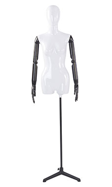 Female Glossy White ¾ Body Mannequin with White Egg Head and Black Posable Arms