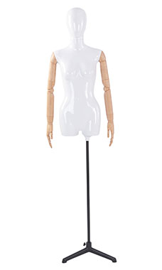 Female Glossy White ¾ Body Mannequin with White Egg Head and Wood Posable Arms