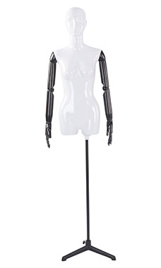 Female Glossy White ¾ Body Mannequin with White Face Egg Head and Black Posable Arms