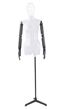 Female Glossy White ¾ Body Mannequin with Wire Head and Black Posable Arms
