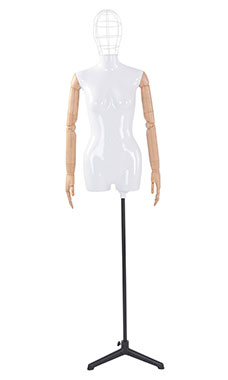 Female Glossy White ¾ Body Mannequin with Wire Head and Wood Posable Arms