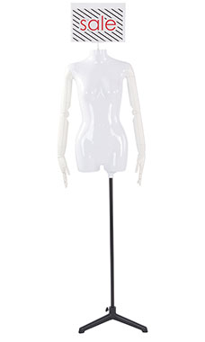 Female Glossy White ¾ Body Mannequin with Sign Head and White Posable Arms