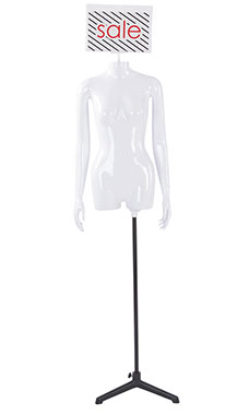 Female Glossy White ¾ Body Mannequin with Sign Head and Non Articulate Arms