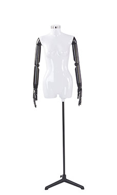 Female Glossy White ¾ Body Mannequin with Neck Cap and Black Posable Arms