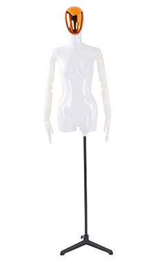 Female Glossy White ¾ Body Mannequin with Red/Chrome Egg Head and White Posable Arms
