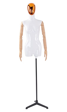 Female Glossy White ¾ Body Mannequin with Red/Chrome Egg Head and Wood Posable Arms
