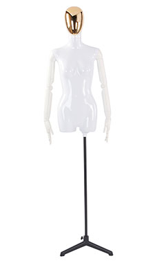 Female Glossy White ¾ Body Mannequin with Gold Egg Head and White Posable Arms