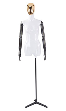 Female Glossy White ¾ Body Mannequin with Gold Egg Head and Black Posable Arms